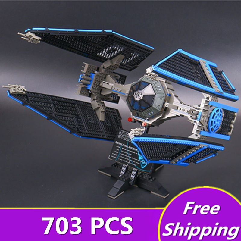 New 703pcs Lepin 05044 Star Stunning Model Wars Limited Edition The TIE Interceptor Building Blocks Bricks Toys 7181 Boys Gifts 05044 star ship wars limited edition tie interceptor model building kit blocks bricks toys compatiable with lego kid gift set