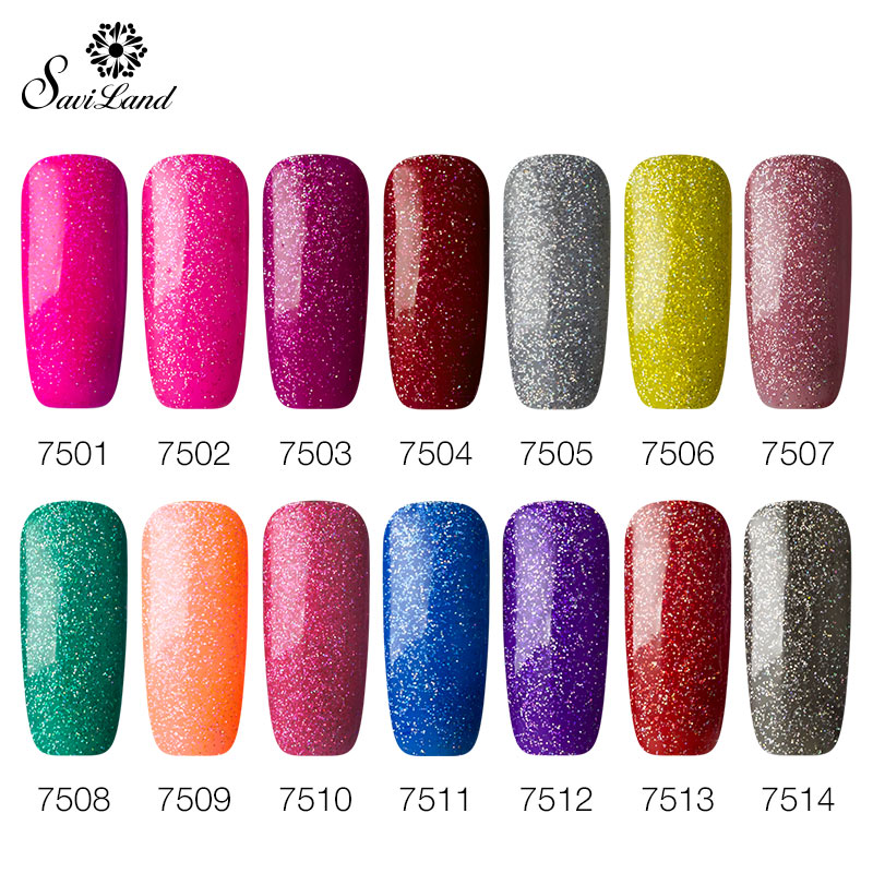 Saviland Shiny Neon Rainbow Nails UV Gel Professional Long lasting ...