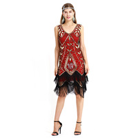 Women sleeveless tassel patchwork sequined floral embroidery flapper dress Vintage 1920s festival rave fringe party gatsby dress