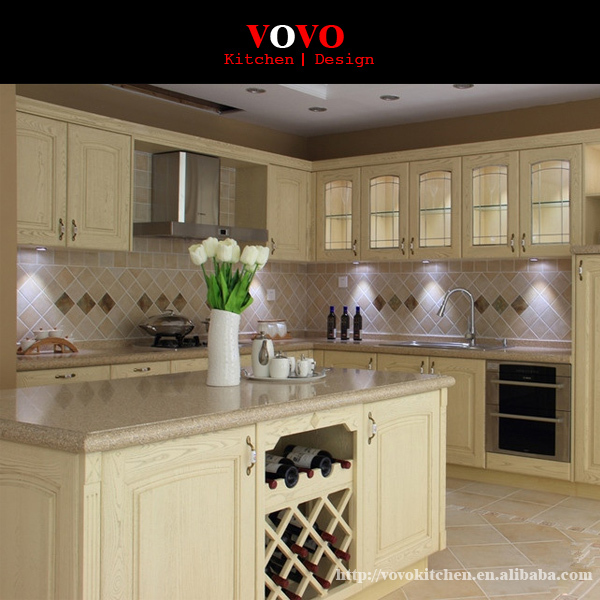 Ash full wooden kitchen cabinet with an island on for Ash wood kitchen cabinets