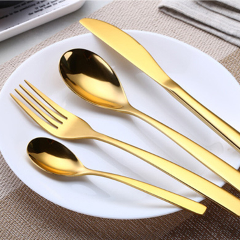1 Set Multicolor Rainbow Dinner Wedding Travel Cutlery Stainless Steel Knife Fork Scoops Kitchen Food Tableware