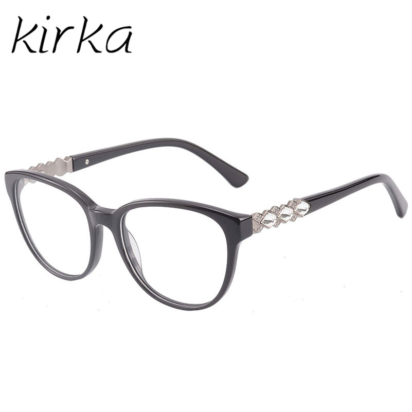 kirka eyeglasses frame women computer optical with crystal eye glasses for womens spectacle transparent clear lens