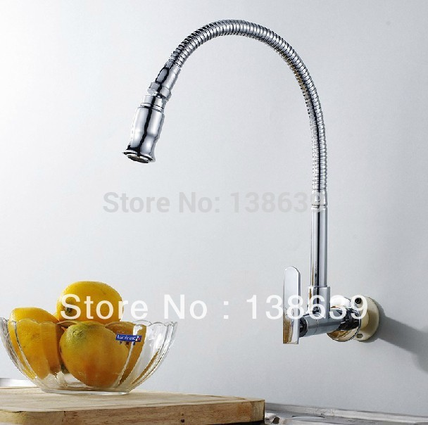 Luxury Brass Cold Kitchen Faucet wall mounted single holder single hole Cold Sink Tap Cold Kitchen