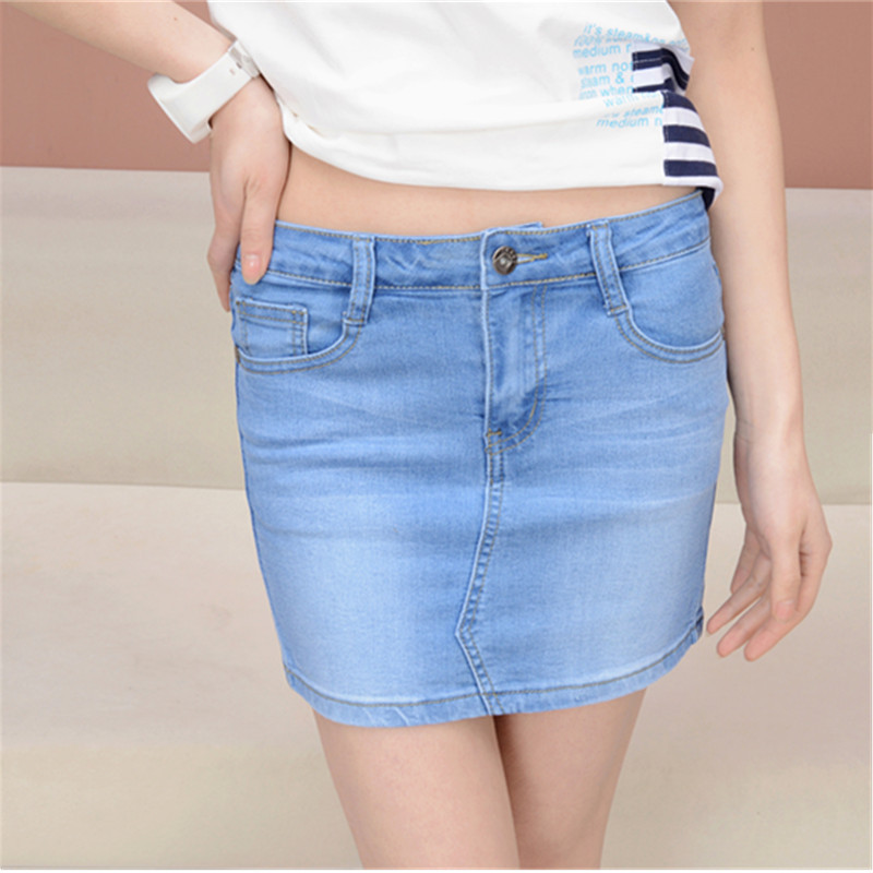 Mini Summer Female Solid Short Denim Jeans Skirts Ladies Elastic High Waist Slim Hip Casual Skirts Plus Size XXXXL Women's Jeans