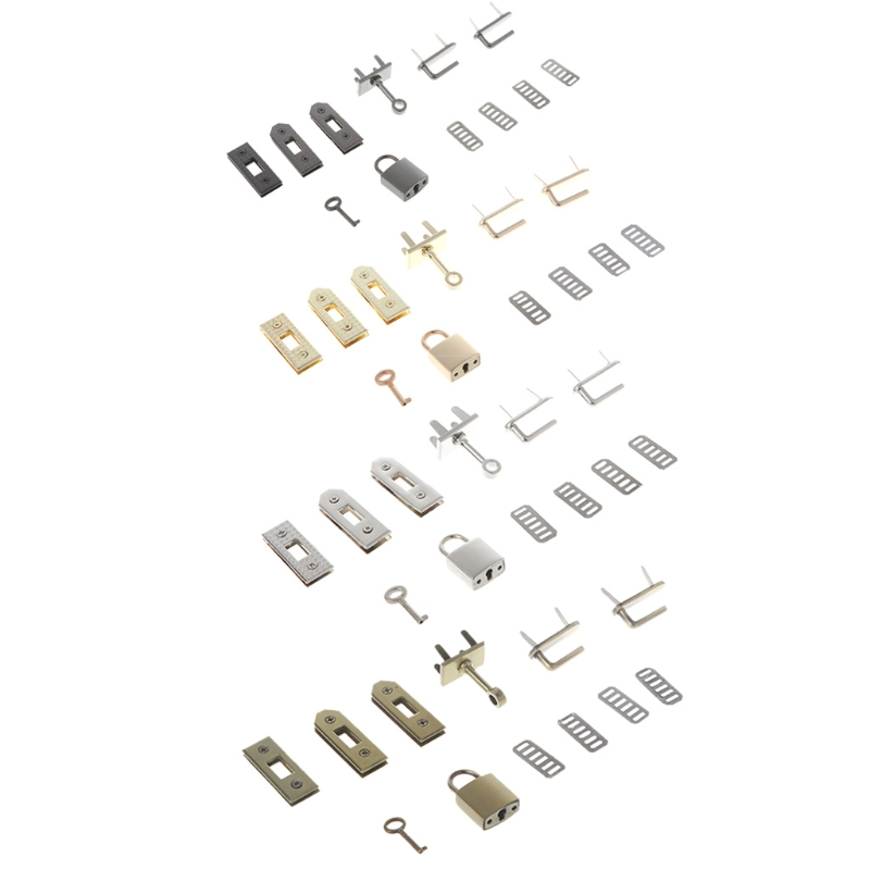 THINKTHENDO 7pcs Clasp Lock Lockbutton Metal Hardware For DIY Handbag Shoulder Bag Purse
