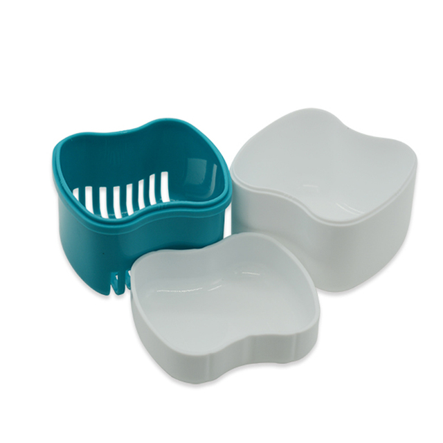 Fashion Denture Bath Box Case Dental False Teeth Storage Container