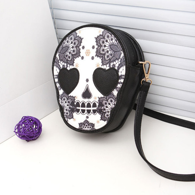 2016 New arrival women skull handbags coin purse lovable PU leather shoulder bag messenger bags free shipping