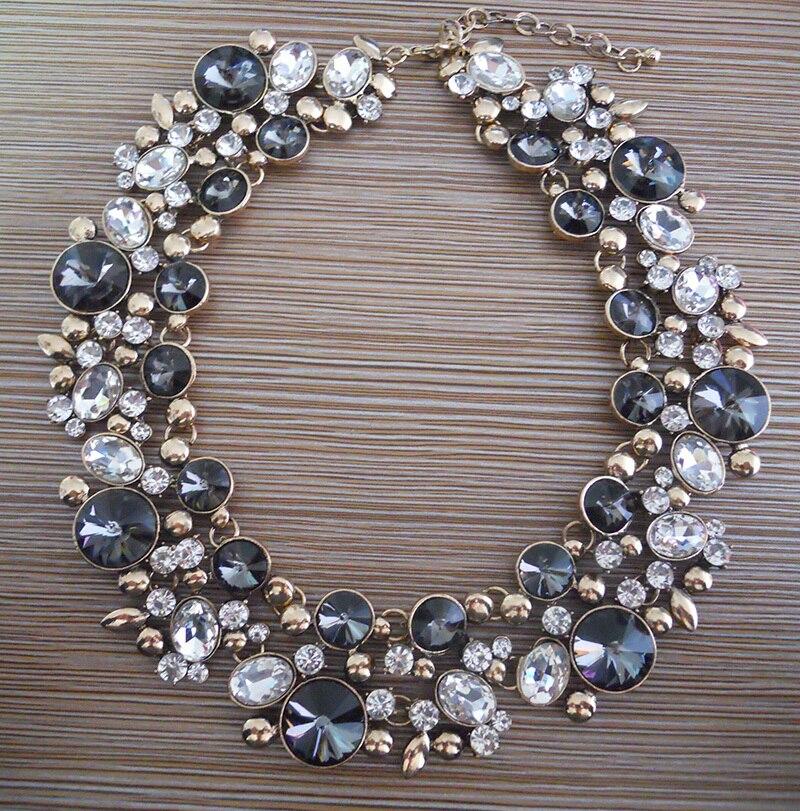 Large Collar Statement Choker Necklace Women Glass Crystal Rhinestone Necklace Female Boho Ethnic Big Bib Maxi Necklace Jewelry