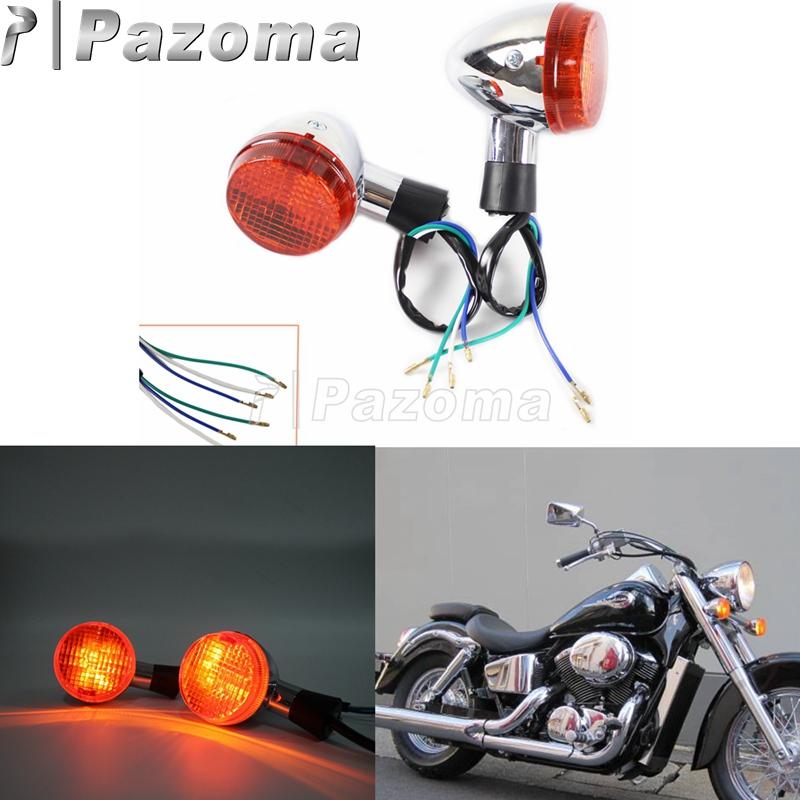 Pazoma Motorcycle E13 Chrome Front Turn Signal Blinker Lamp Amber Light for Honda Shadow 400 750 VT750 04-07