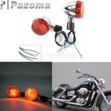 Pazoma мотоциклов E13 Chrome спереди поворотов мигалка лампа янтарный свет для Honda Shadow 400 750 VT750 04-07