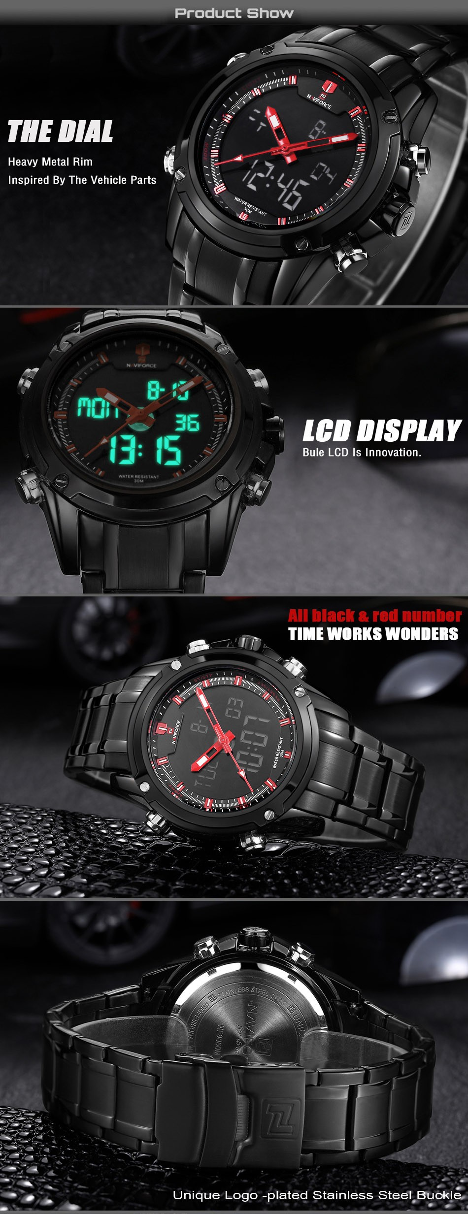 Men's Military Sports Watches  LED red
