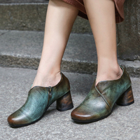 VALLU Autumn Pumps Shoes Lady New Arrival Women' s High Heel Shoes Cow Leather Zip Design Outside Leisure Female Shoes