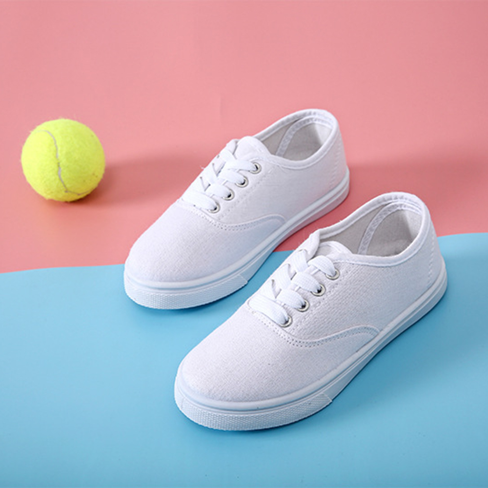 Woman Sneakers Shoes Canvas White Sneakers Casual Fashion Solid Color Flats Breathable For Woman 43 size 7479