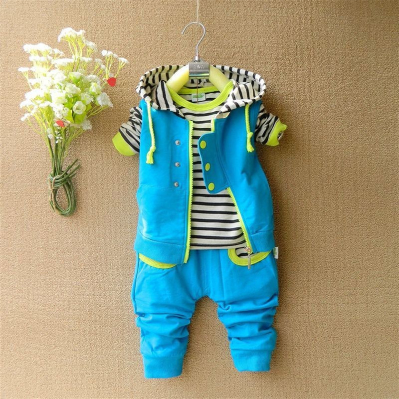 3-pieces Boys Clothing Set Long Sleeve Striped T shirt and Hooded Vest and Pants Spring Autumn Outfits Toddler Baby Boy Clothes toddler kids baby boys clothing sets t shirt tops long sleeve striped anchor long pants trousers outfits clothes set 2pcs