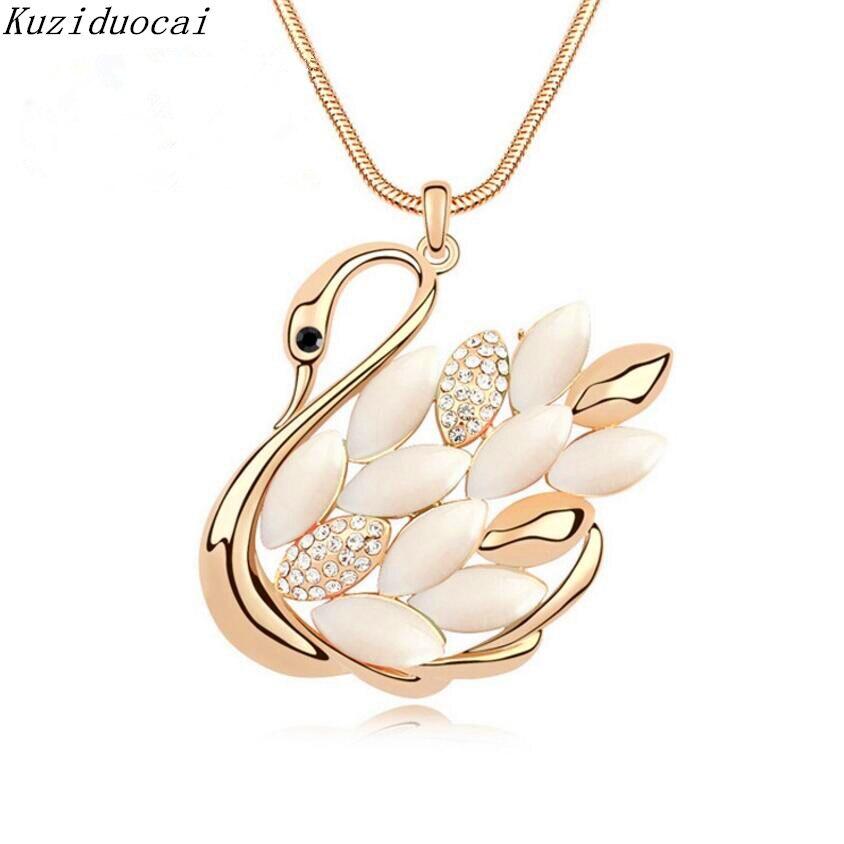 Kuziduocai 2017 New Fashion Fine Jewelry Gold Color Rhinestone Shining Swan Elegant Long Necklaces Pendants For Women Kolye N-95