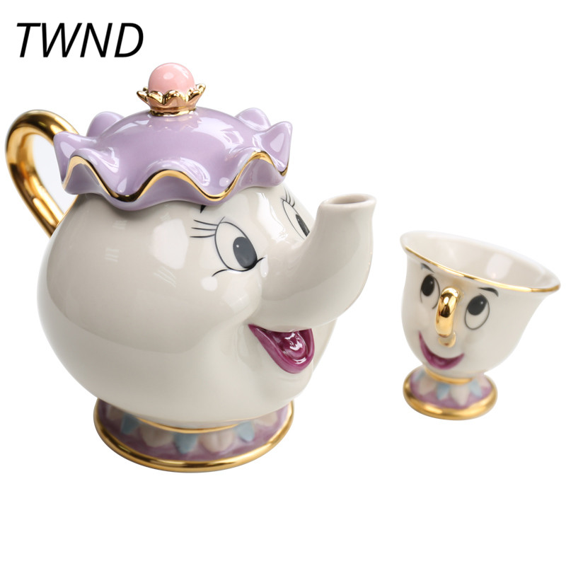 Beauty and the Beast Coffee Mug Pot Sugar Plate Set Ceramic Cup Kettle Drinkware Creative Coffeware Sets Gift Box