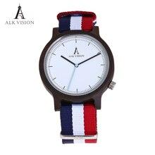 ALK Visión 100% de Ébano Madera Del Reloj Para Hombre con Correa de Lona Moda Casual Reloj Reloj De Cuarzo Simple Reloj relogio masculino