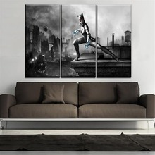 One Set Modular Picture Modern Home Decorative Game Poster Canvas HD Printed 3 Piece Catwoman Painting Wall Decor Framework