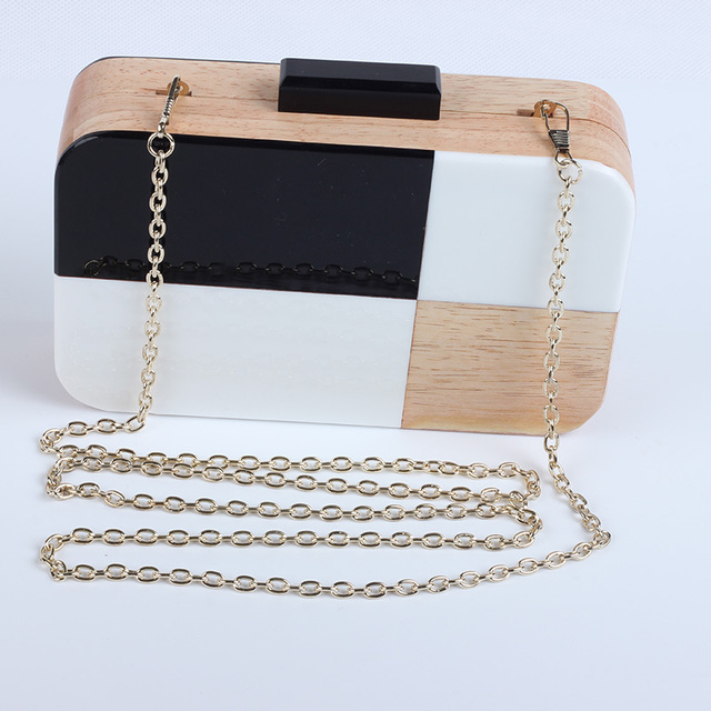 Acrylic Wood Travel Shoulder & Crossbody Handbag 4