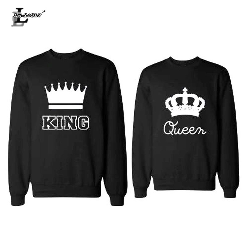 Lei-SAGLY 2018 New Fashion King Queen Couples Swetshirts Crewneck Pullover Long Sleeve Loose Hoodies Men Women Lovers Sweatshirt