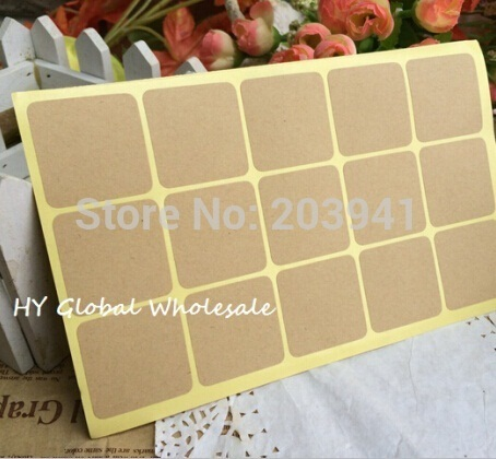 150PCS/Lot New  Square design Kraft Blank Sealing sticker for Handmade Products DIY note gift  package label