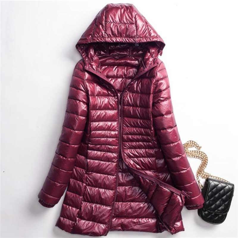 Fitaylor kobiety Ultra lekki biały kurtki z puchu kaczego jesień zima z kapturem Plus rozmiar Lady Slim ciepłe długie kurtki puchowe