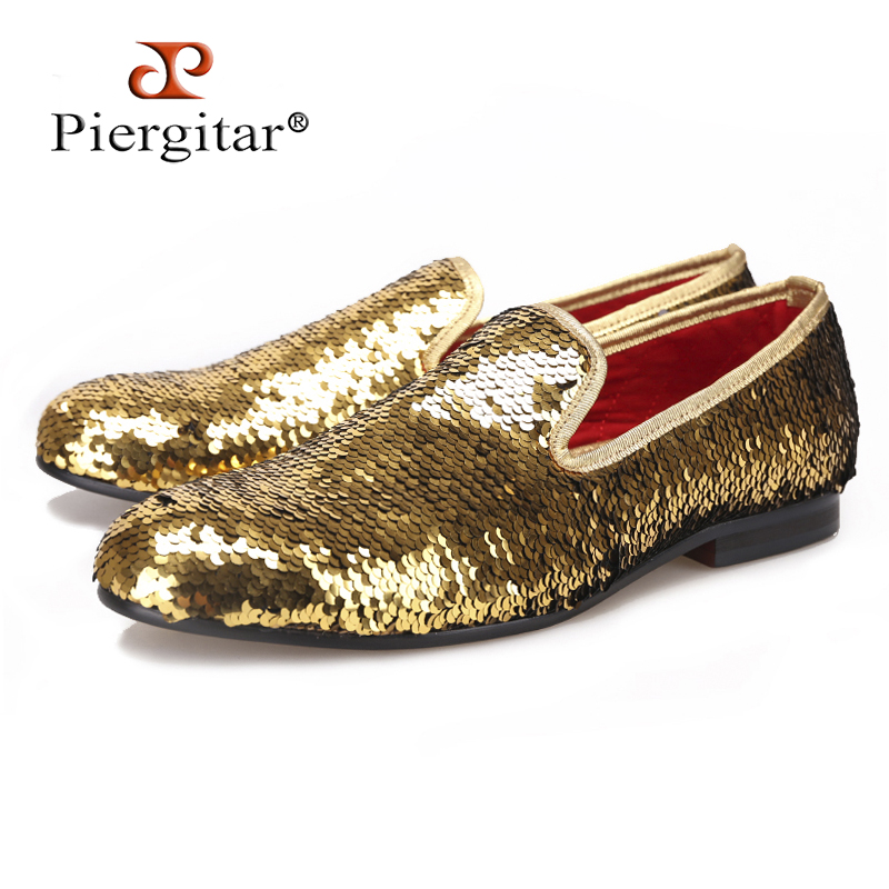 PIERGITAR 2017 Wedding and Prom Gold colors men smoking slippers luxurious glitter Handmade men loafers big size male flats piergitar 2017 new handmade men loafers with tie design fashion prom and banquest men smoking slippers plus size male flats