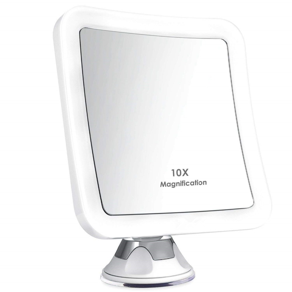 Make-up mirror LED Illuminated with 7x/ 10x magnification and strong suction cup, 360 degree with glare-free lighting