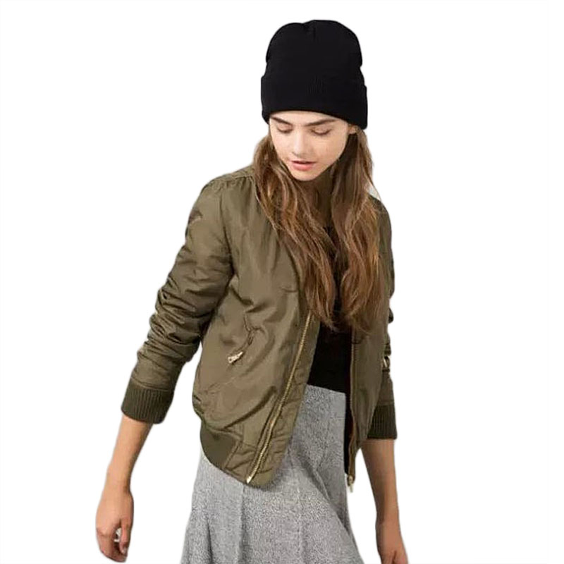 Winter Parkas Army Green Bomber Jacket Women Slim Casual