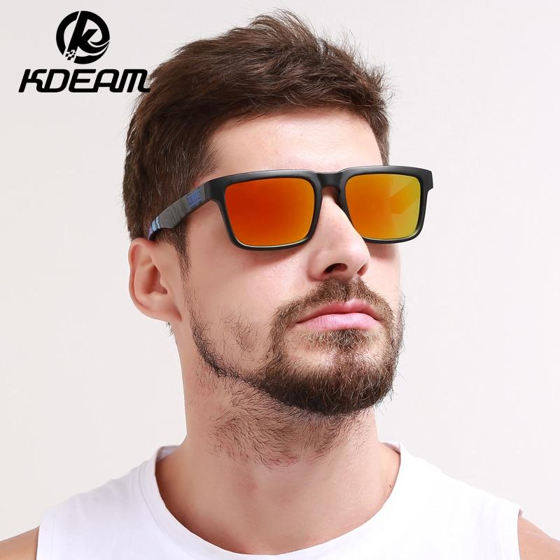 Kdeam 2019 משקפי שמש גברים רפלקטיביים ציפוי ריבוע משקפי שמש מקוטב נשים מעצב המותג Oculos de Sol עם המקרה המקורי