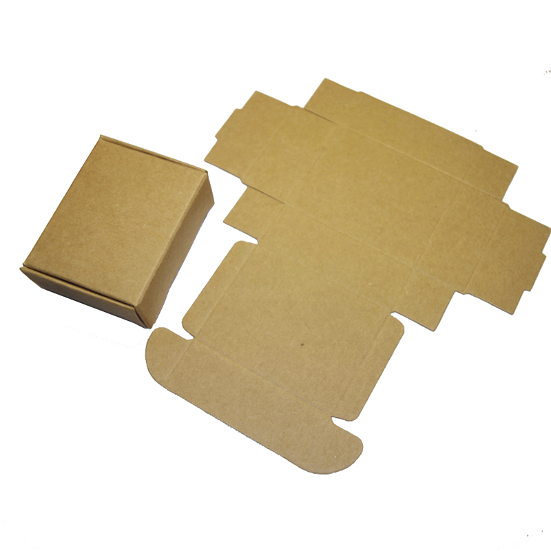 50pcs/lot 55/65/75/85/90/110/125mm Kraft Paper Brown Color Gift Boxes, Handmade Soap/candy/jewelry/earing Packaging Folding Box