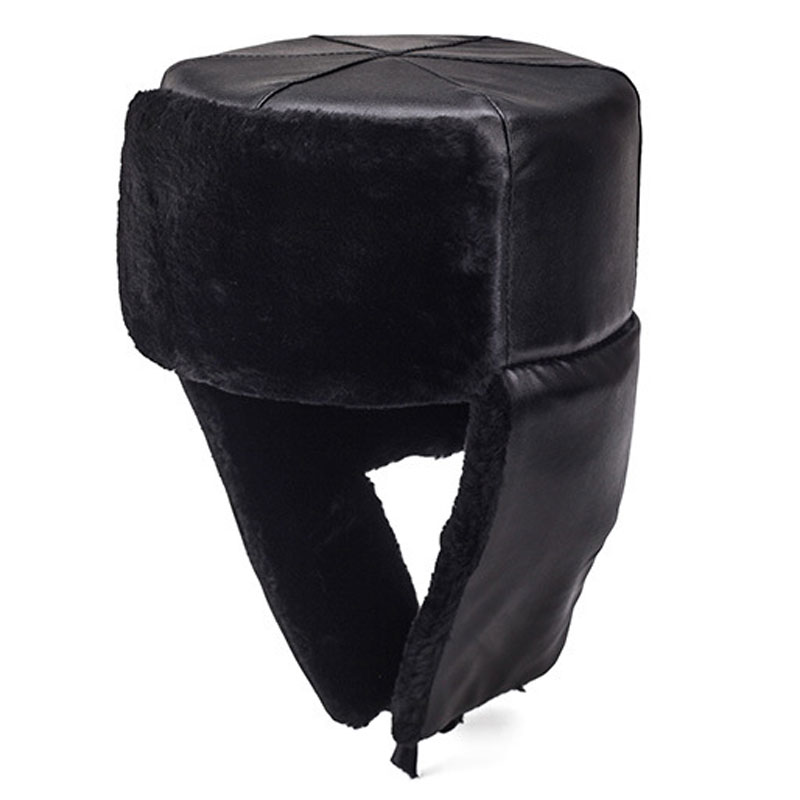 f95cc526aad Detail Feedback Questions about Russian Style Men Warm Winter Hat With Ears  Flaps Thermal Ushanka Cap Windproof PU Leather Fur Bomber Hats Black Size  58 on ...