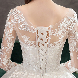 Image 5 - Mrs Win 2020 Full Sleeve Muslim Lace Wedding Dresses With Big Train New Luxury Ball Gown Wedding Dress Vestido De Noiva X