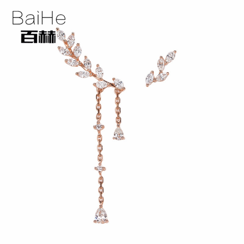BAIHE Solid 14K Rose Gold 0.67ct H/SI 100% Genuine Natural Diamonds Engagement Trendy Fine Jewelry Elegant Unique Stud Earrings solid 18k rose gold unique stud earrings for women si h 100% natural diamonds earrings unique trendy party fine jewelry