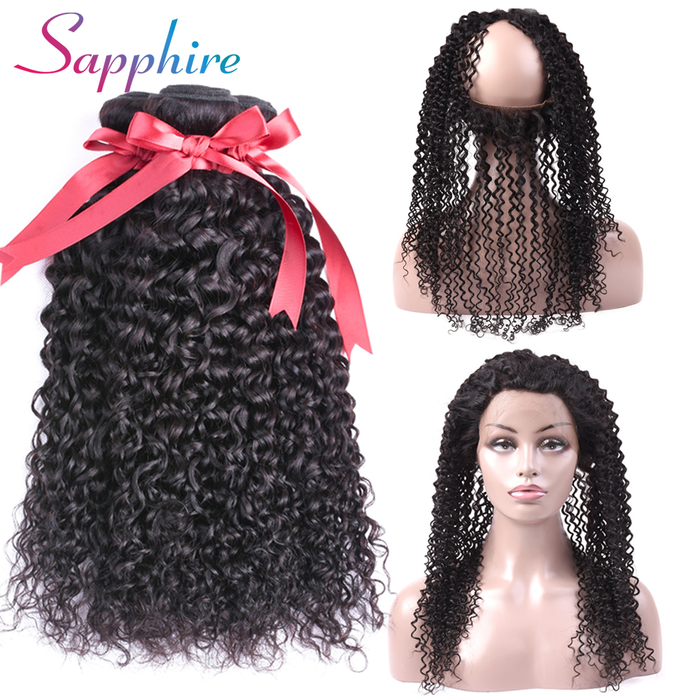 Sapphire Peruvian Kinky Curly Hair Weave 3 Bundles With 360 Lace Frontal Natural Color human hair extensions