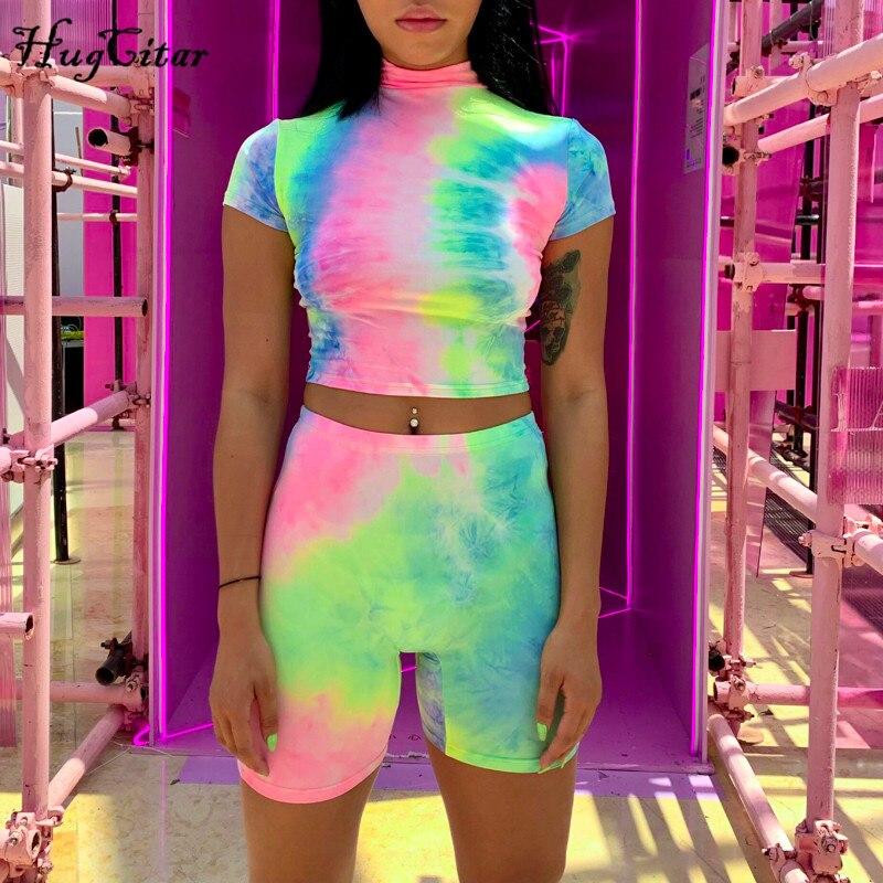 Hugcitar Short Sleeve Crop Tops Shorts Tie Dye Print Colorful 2 Piece Set 2019 Summer Women Fashion Club Streetwear Sets