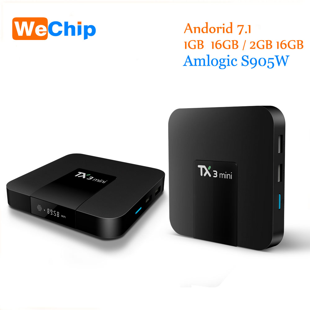 TX3 mini boîtier de smart tv 1 GB/8 GB 2 GB/16 GB Tx3 mini android Android 7.12 nouvelle version amlogic S905W jusqu'à 2.0 GHz TX3mini TV BOX