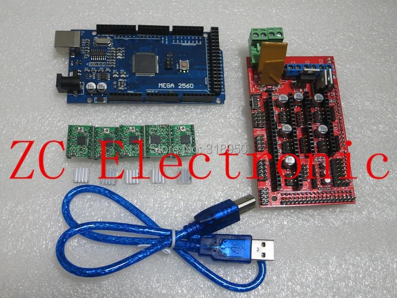 1pcs Mega 2560 R3 for arduino + 1pcs RAMPS 1.4 Controller + 5pcs A4988 Stepper Driver Module 3D Printer kit Reprap MendelPrusa