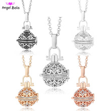 Vintage Jewelry for Women 20.5mm Angel Bola Essential Oil Cage Sound Ball Pendant Long Stainless Steel Chain Necklace NL064