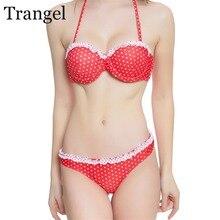 Trangel 2017 новые купальники dot печати купальник женщины push up бикини установить одежда для пляжа купальник женский бандо купальный костюм LD734