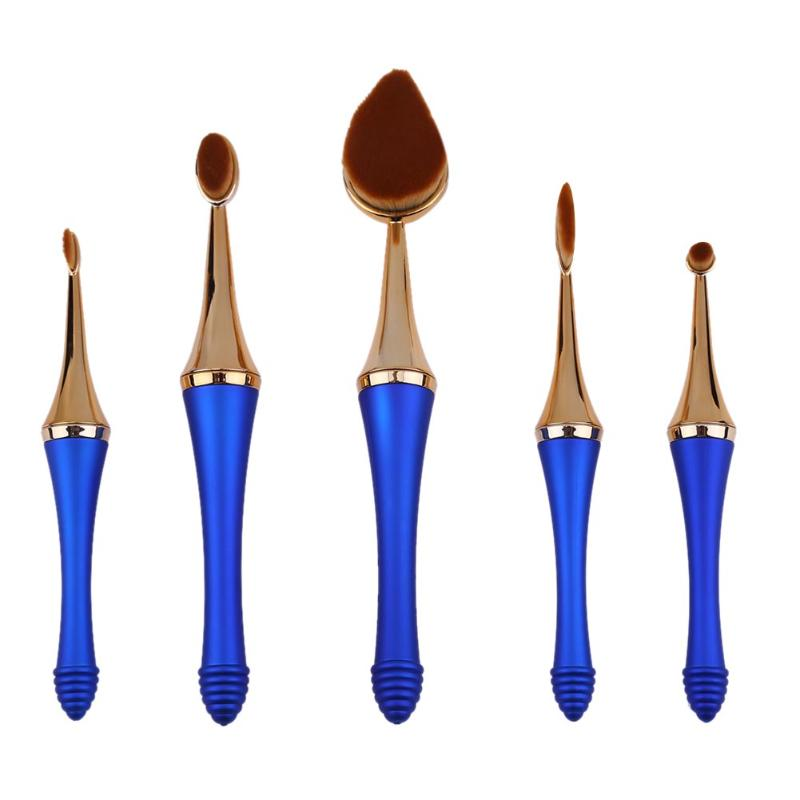 3/5/11pcs Oval Makeup Brush Professional Foundation Makeup Brush Set Powder Eye Shadow Brush Cosmetic Beauty Brushes 2 Colors finding color professional wooden cosmetic makeup bevel foundation brush brown