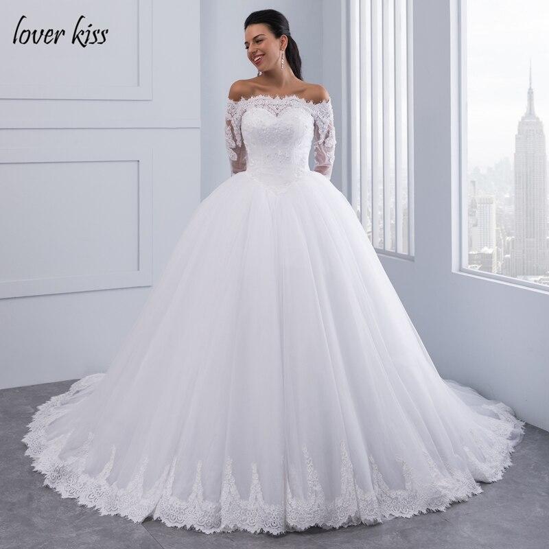 Amant Baiser Robes de Noiva robe de Bal Dentelle Robe de Mariée Manches Longues Off Épaule Tulle Puffy Mariée Robes Casamento Mariage