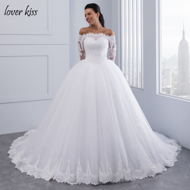 Lover Kiss Vestidos De Noiva Ball Gown Lace Wedding Dress Long Sleeves Off Shoulder Tulle Puffy