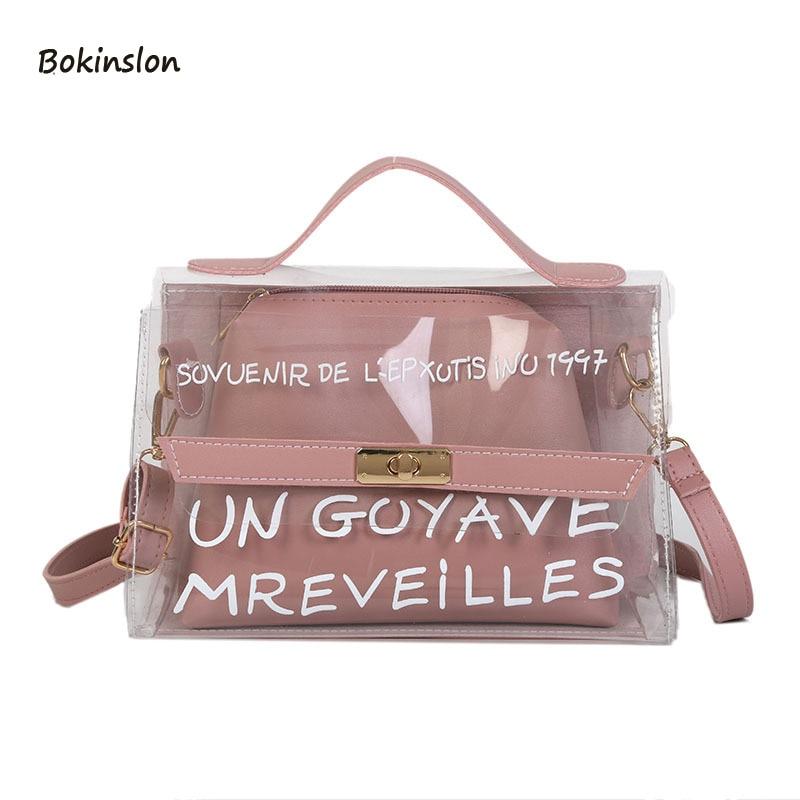 2018New PVC Material Women's Messenger Bag Fashion Net Red Summer Transparent Picture Bag Travel Girls Mini Handbag