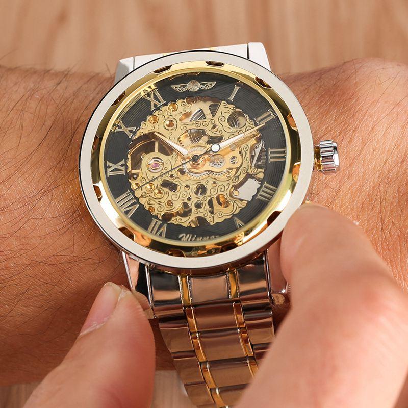 WINNER Watch Men Skeleton Automatic Mechanical Gold Vintage Man Mens FORSINING Top Brand Luxury Clock