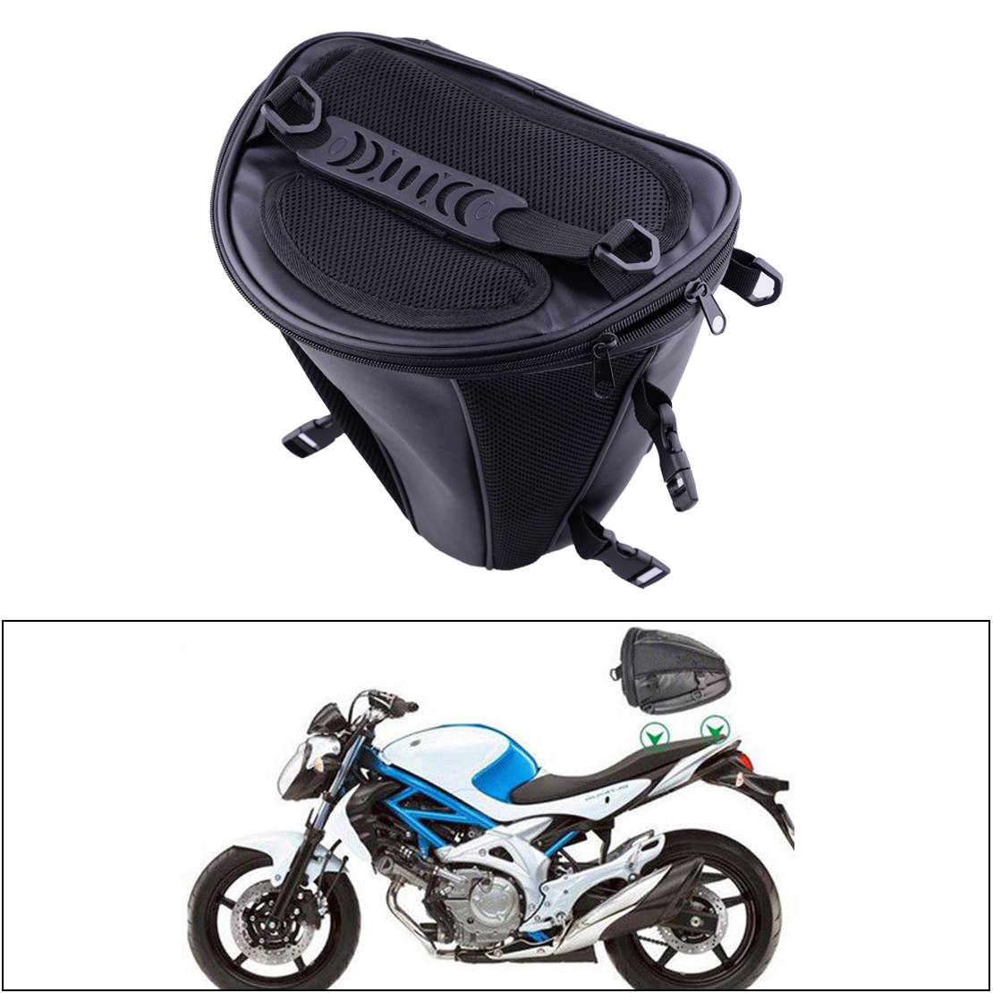 CITALL Black Waterproof Microfiber Tail Bag Back Seat Storage Carry Hand Shoulder Saddlebags for Motorcycle Dirt Bike Dual Sport