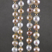 Stunning Long Pearl Necklace Natural Color Freshwater Pearl Jewelry Made With 3mm GP Beads 48'' Fashion Lady's Jewelry