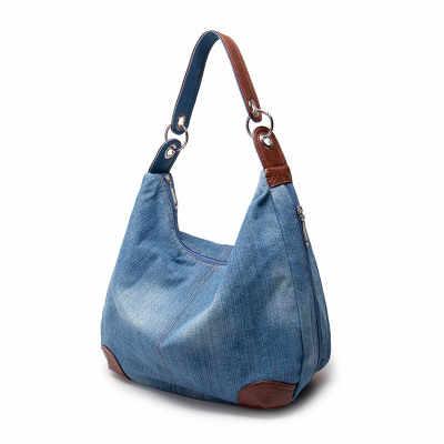 Bolso Kiple lớn sang trọng nữ denim túi xách túi cỡ lớn xanh dương Túi xách Jean Denim Túi Tote Đeo Chéo Nữ Túi Đeo Vai