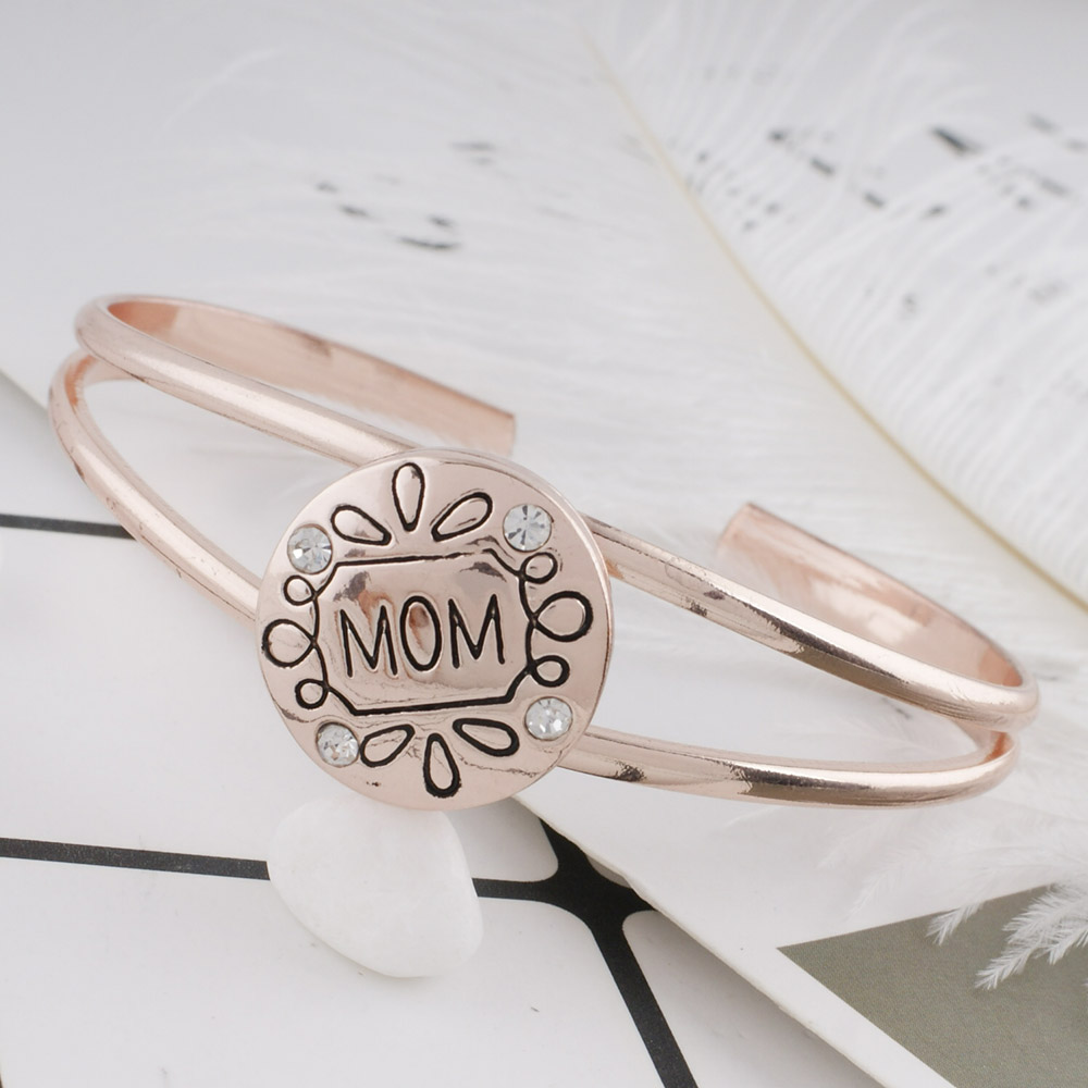 Vintage Rose gold Snap Jewelry Bracelet Crystal Heart mom Sister Sis Mom Bracelets Bangles For Women Men Gifts Hand Snap Jewelry