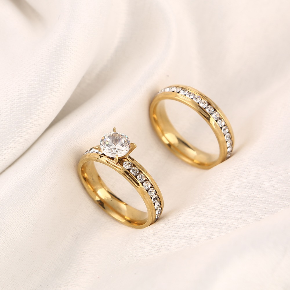 Gold wedding rings Stainless Steel Engagement Ring for Women with CZ 4